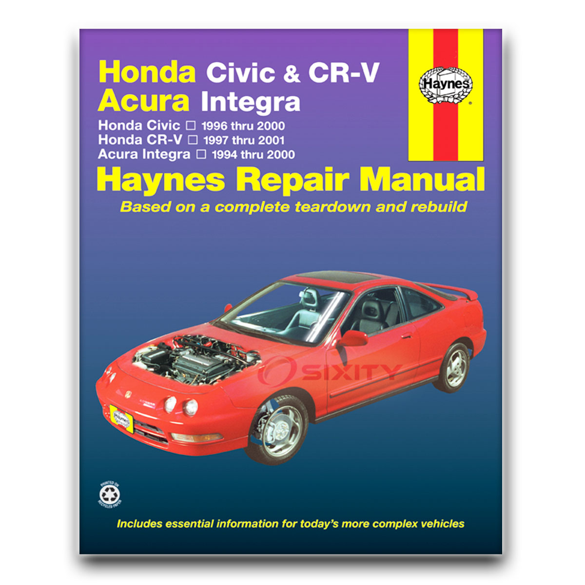 Haynes Repair Manual for Acura Integra RS LS Type GS GS-R Special Edition cx