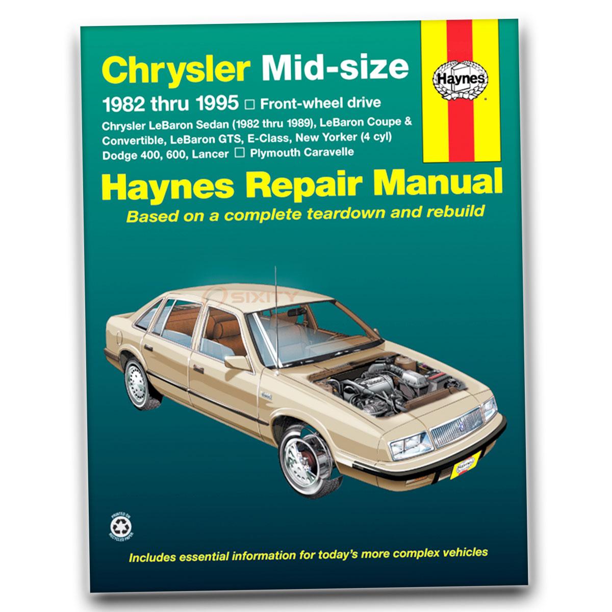Haynes Repair Manual for Chrysler New Yorker Turbo Base Shop Service Garage  re