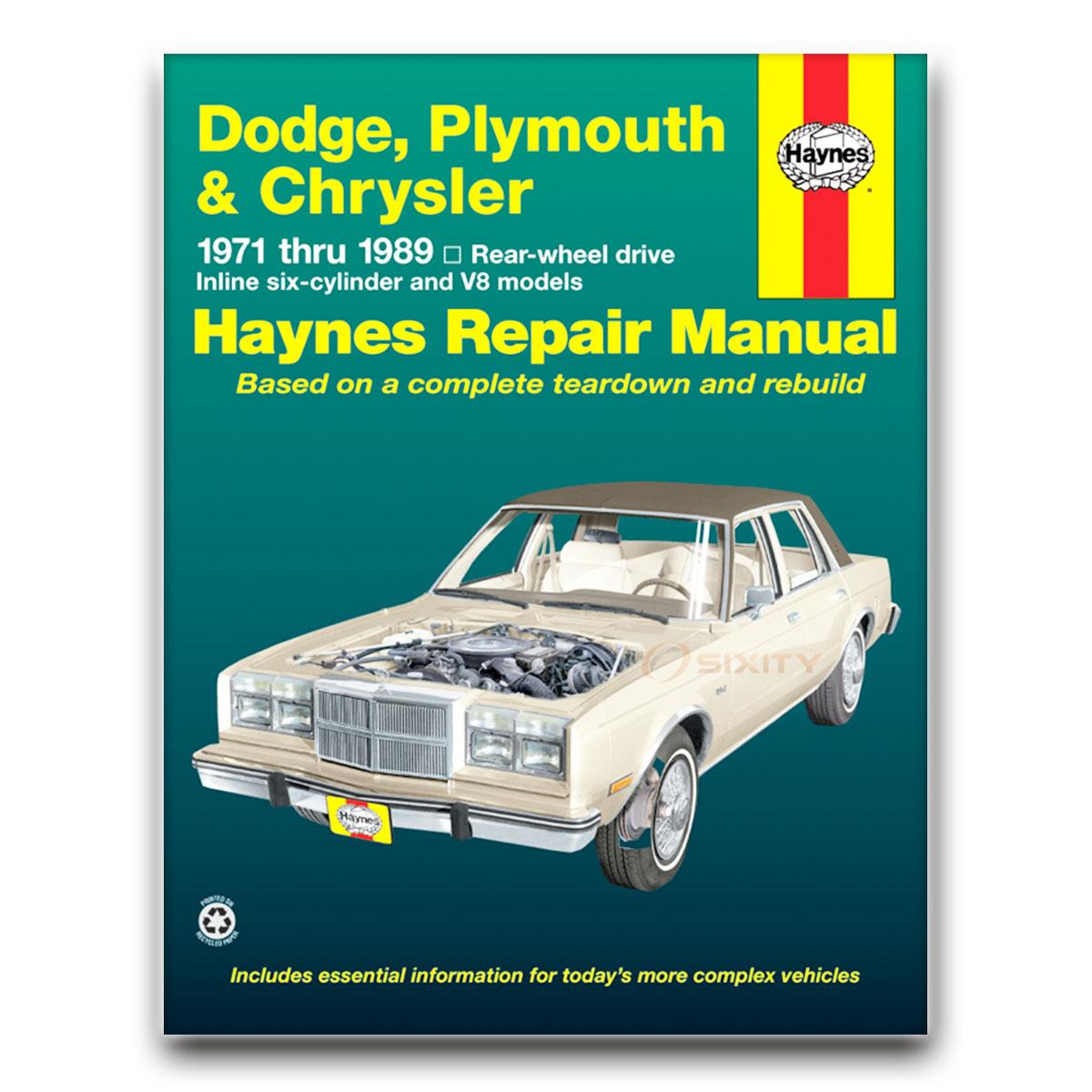 Haynes Repair Manual for Chrysler Town & Country (Car) Base Shop Service mt