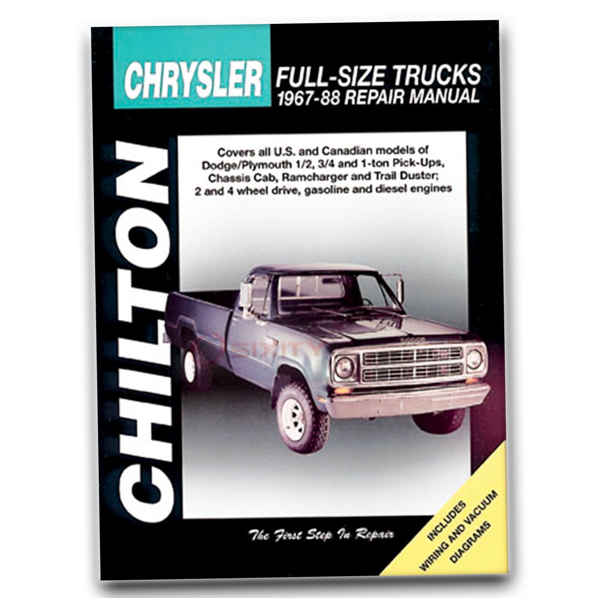 Chilton Repair Manual for Dodge D150 Base Miser Shop Service Garage Book kq