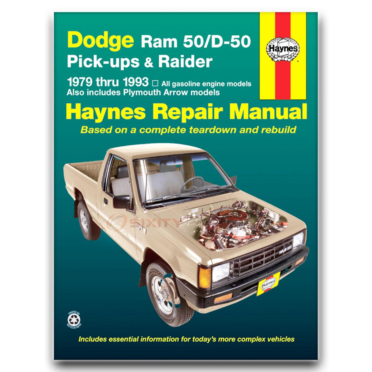 Haynes Repair Manual for Dodge Ram 50 Base Sport Royal Custom LE SE Shop rx