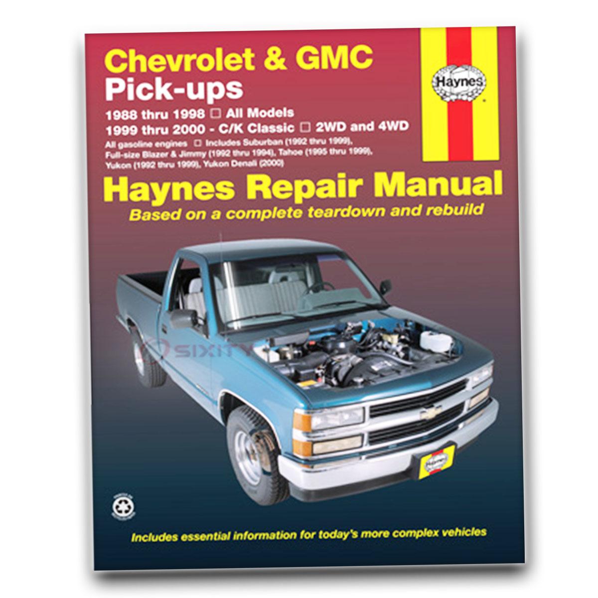 gmc c1500 haynes repair manual sierra slt gt sle slx special shop rh ebay com