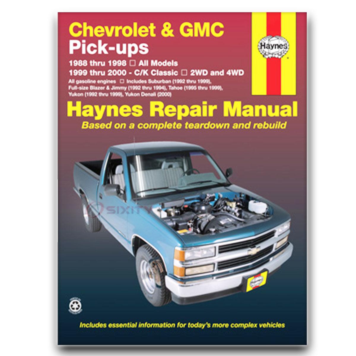GMC K1500 Haynes Repair Manual Sierra SL Special SLX SLE SLS SLT Sport Shop  tj