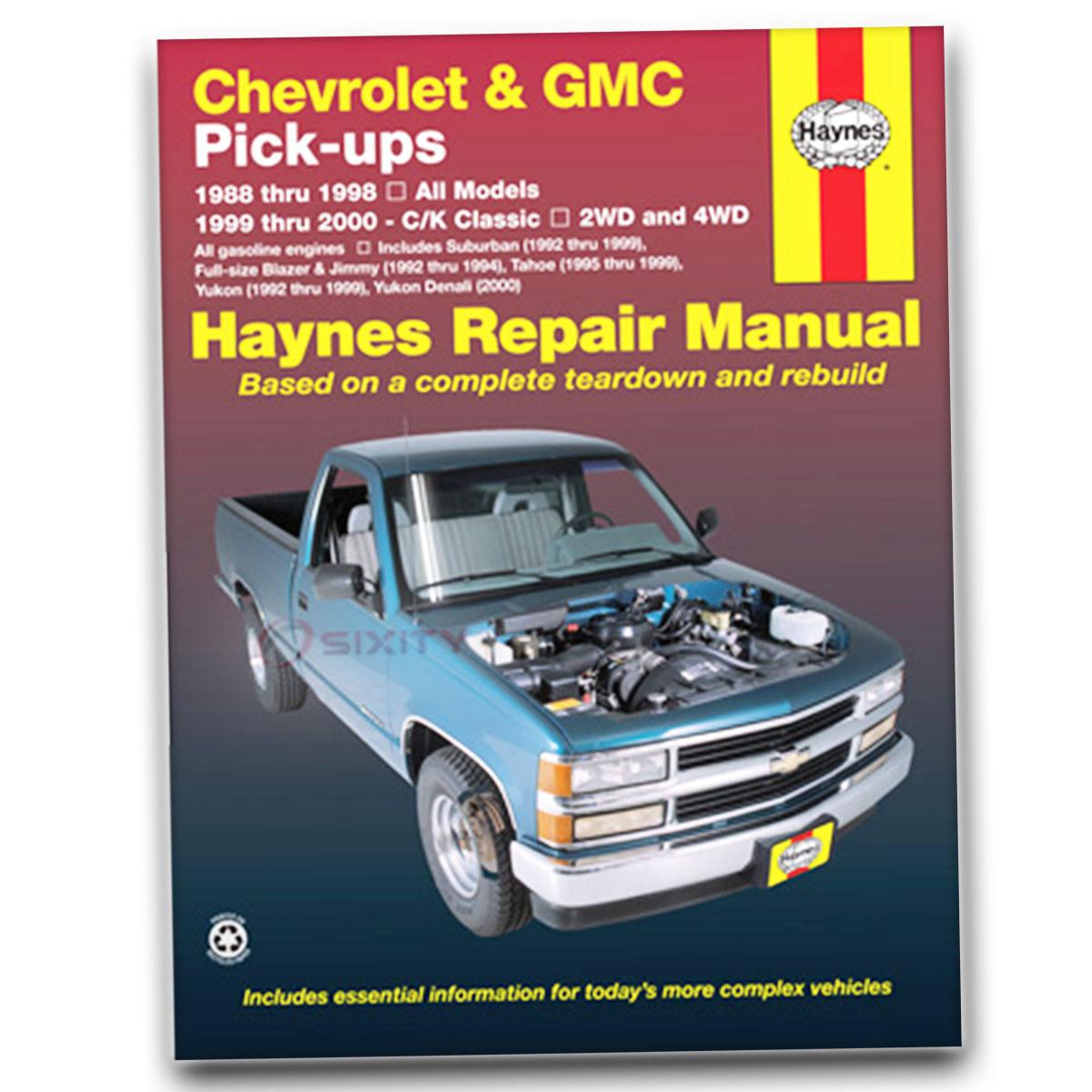 gmc k1500 suburban haynes repair manual slt sle base shop service rh ebay com 1997 GMC Suburban 2002 GMC Suburban