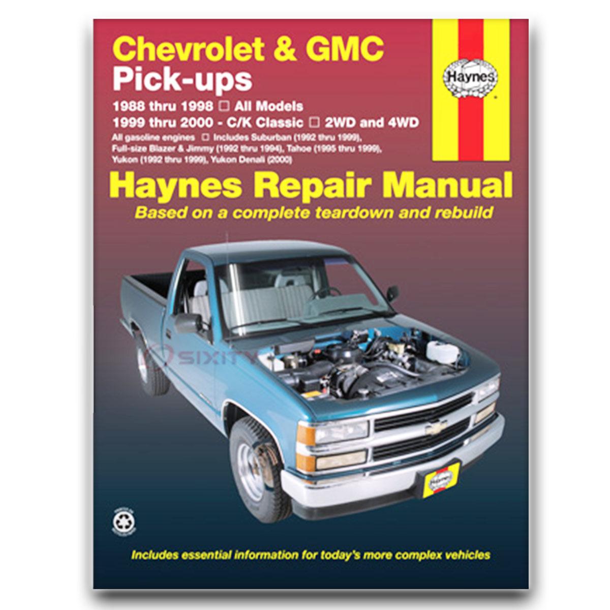 Haynes Repair Manual for GMC K2500 Sierra SLE SLX SLT Shop Service Garage hb