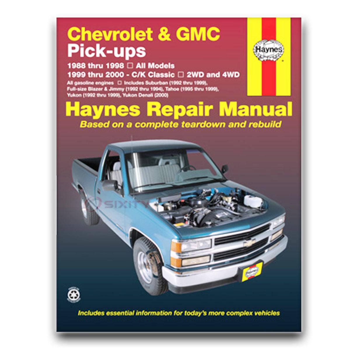 Gmc K2500 Suburban Haynes Repair Manual Base Sle Slt Shop