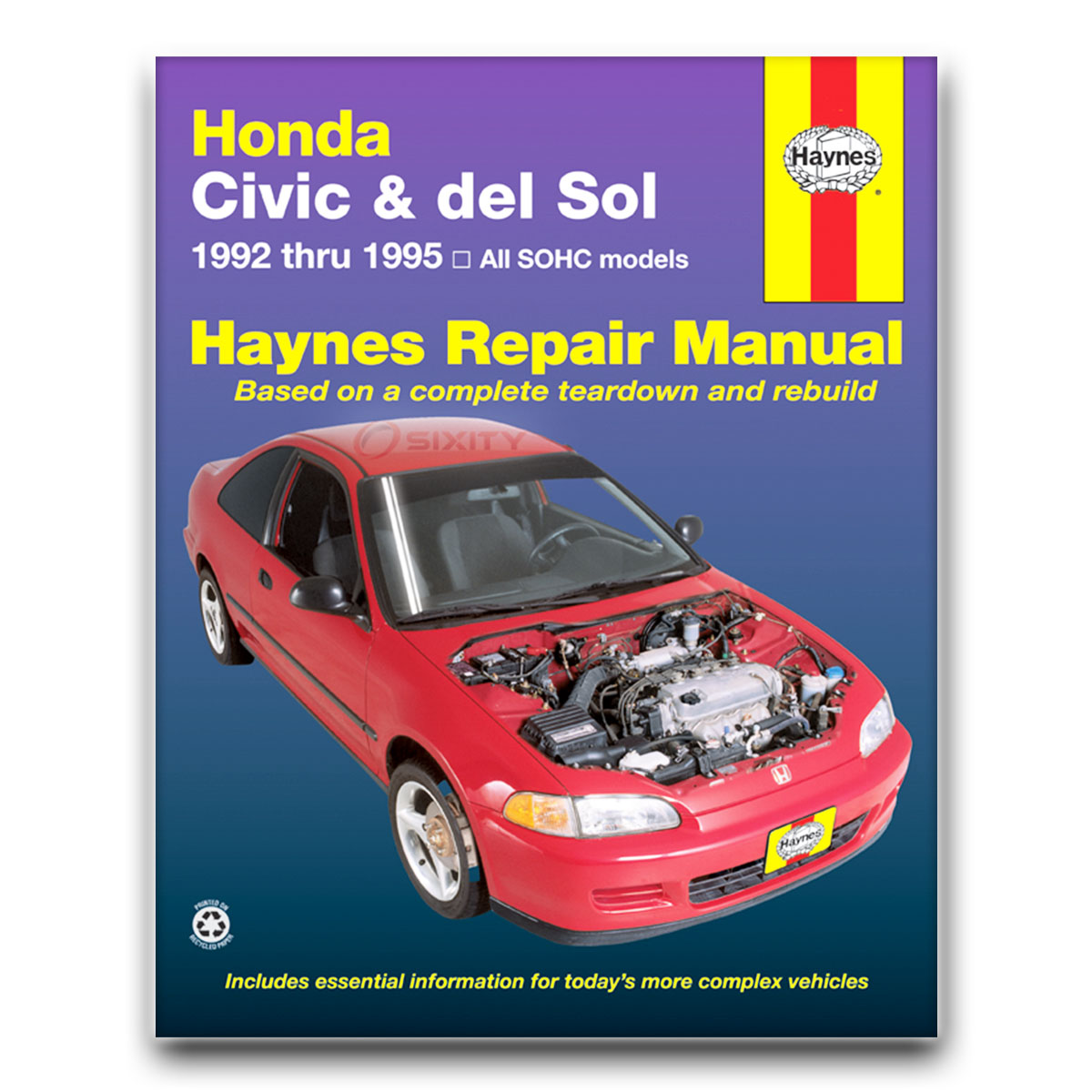 honda civic del sol haynes repair manual s si vtec shop service rh ebay com Honda Civic Manual Water PU Honda Civic Parts Catalog
