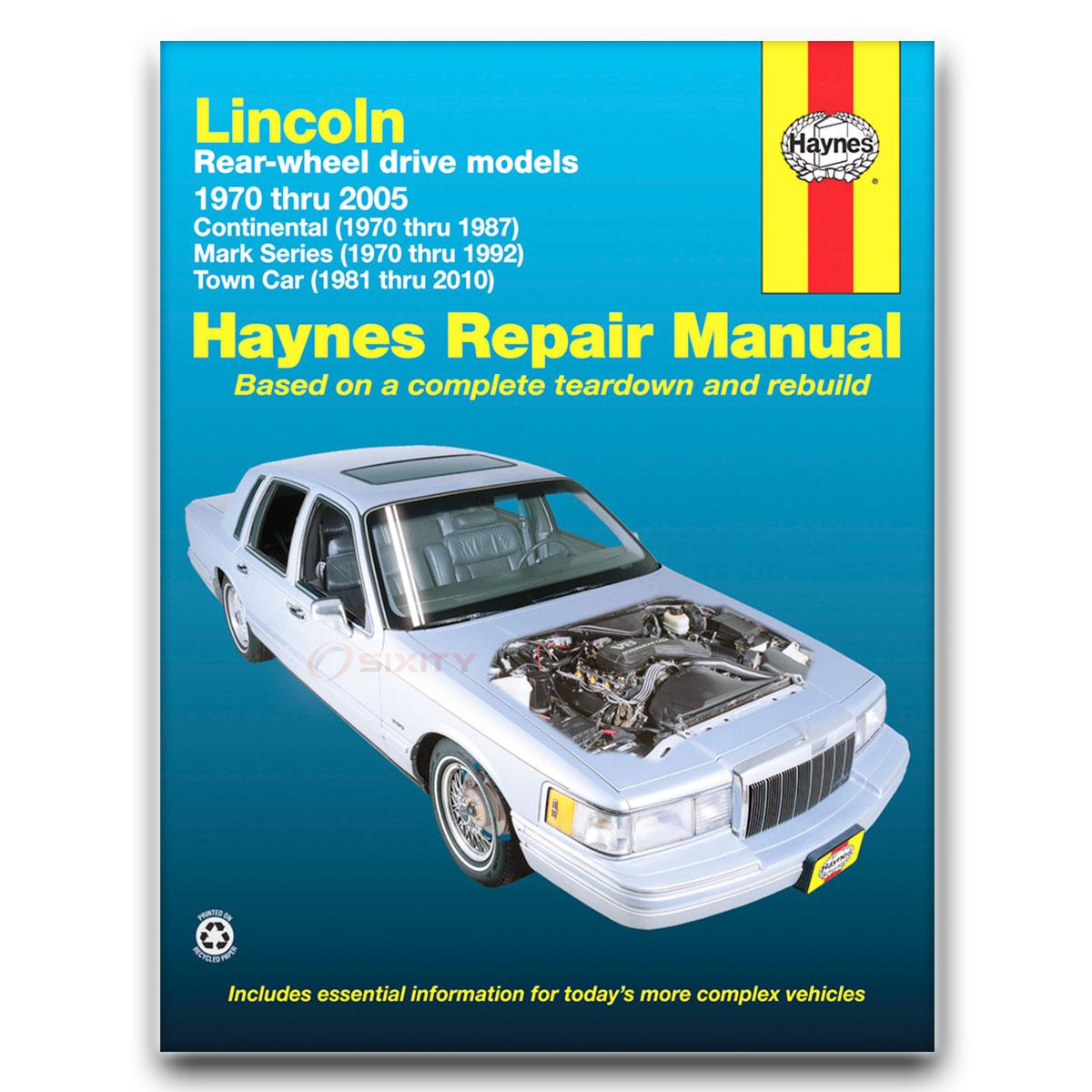 Haynes Repair Manual For 1972-1976 Lincoln Mark Iv