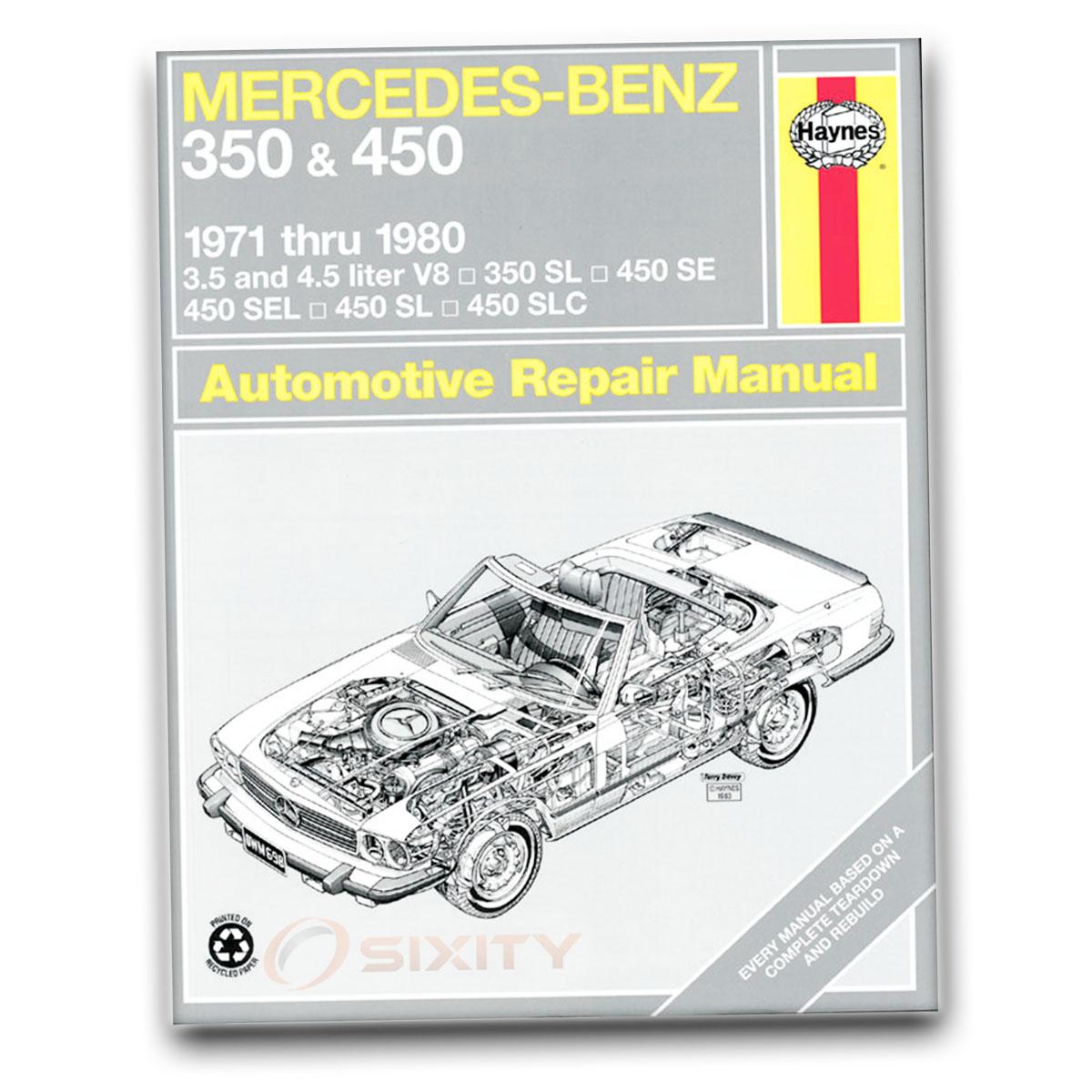 Mercedes 450SL Haynes Repair Manual Base Shop Service Garage Book le ...