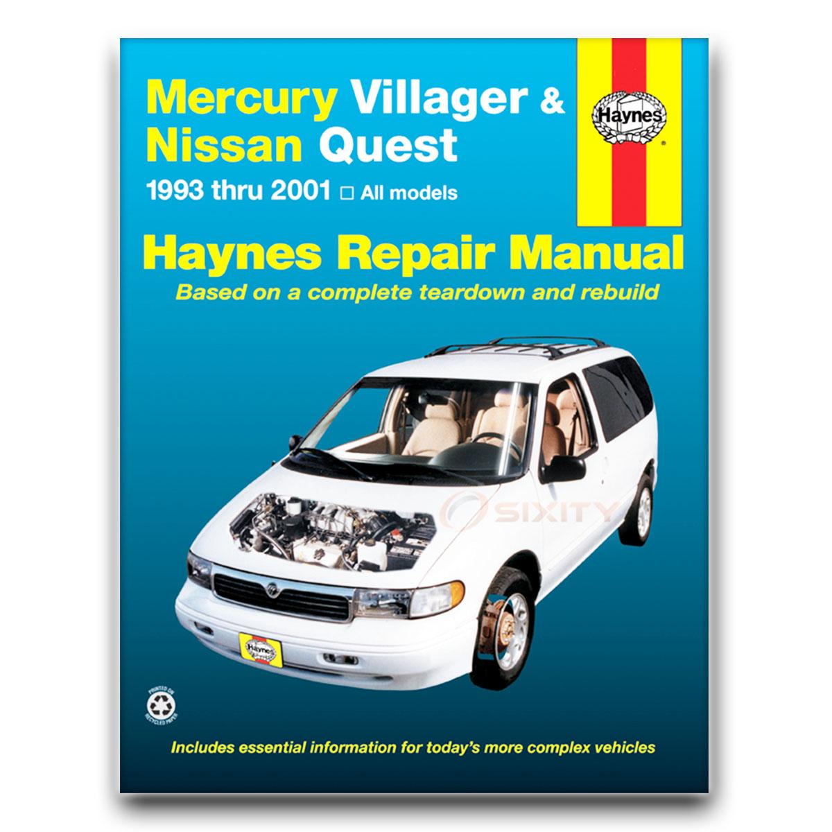 nissan quest haynes repair manual gle xe se gxe shop service garage rh ebay com 2001 Nissan Sentra 2001 Nissan Quest Wipers Arm