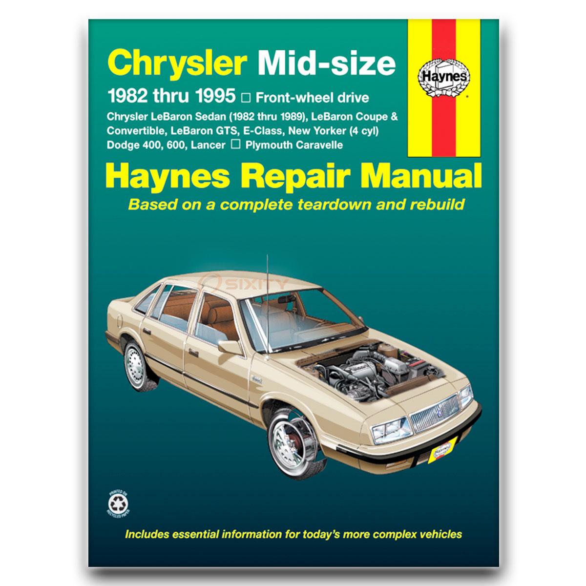 Plymouth Caravelle Haynes Repair Manual Se Base Shop Service Garage Book Qj