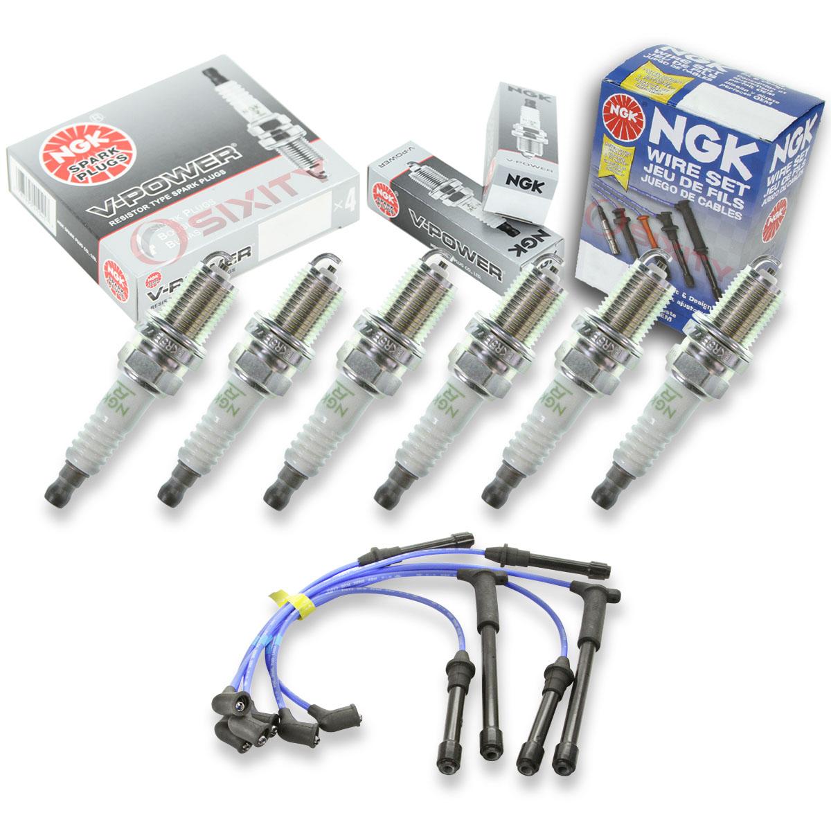 6 pcs NGK V-Power Plug Spark Plugs /& Wires 02-04 for Nissan Xterra 3.3L V6 as