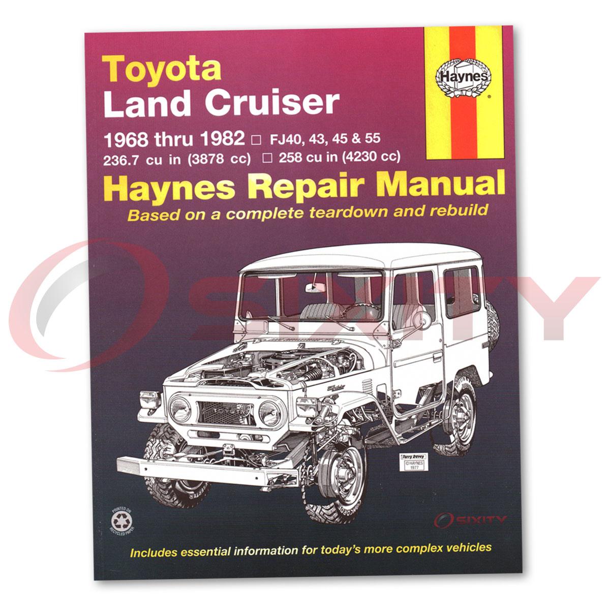 haynes repair manual 92055 for toyota land cruiser fj40 43 45 55 60