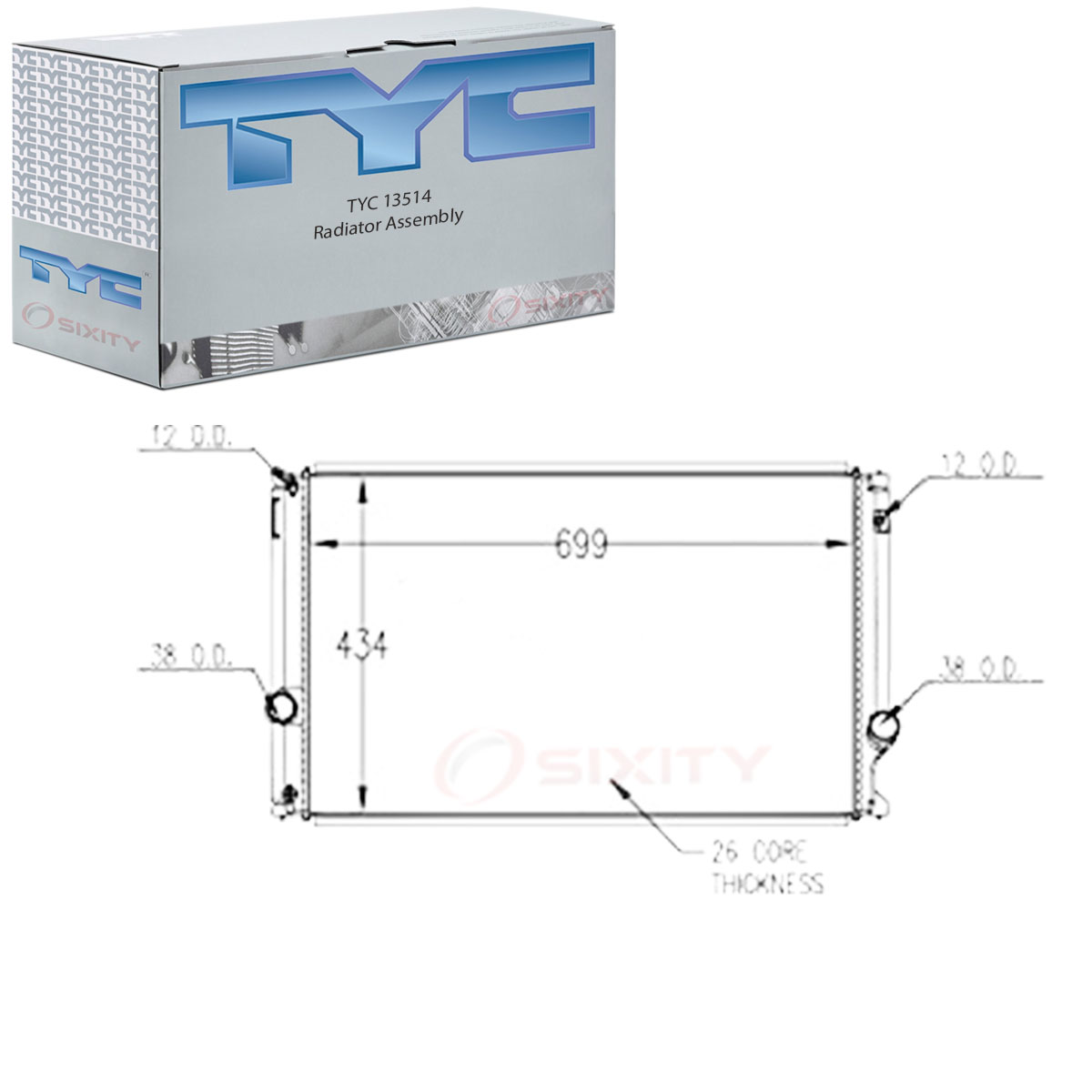 TYC 13514 Radiator Assembly for Lexus 16400-36100 hq