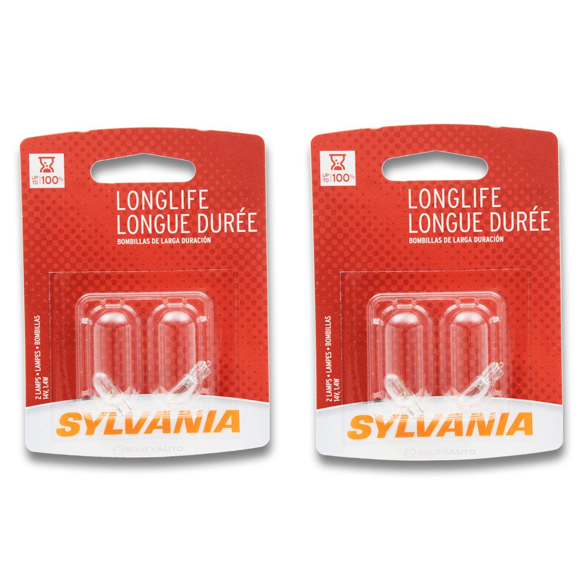 Two 2 Packs 74LL Light Bulb Courtesy Glove Box Seat ta Sylvania Long Life
